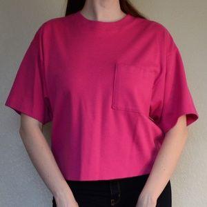 Lands' End Oversized Comfy Pink Tee with Pocket